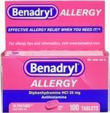 Benadryl 25 mg Ultratabs Antihistamine Allergy Relief, 100 Count