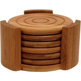 Lipper International Bamboo Collection 7-Piece Coaster Set