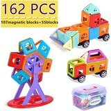 MERISTCN 162-Piece Building Set (Magnetic And Non-Magnetic Blocks)