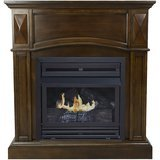 "Pleasant Hearth 36"" Convertible Vent-Free Dual Fuel Fireplace in Heritage Oak"